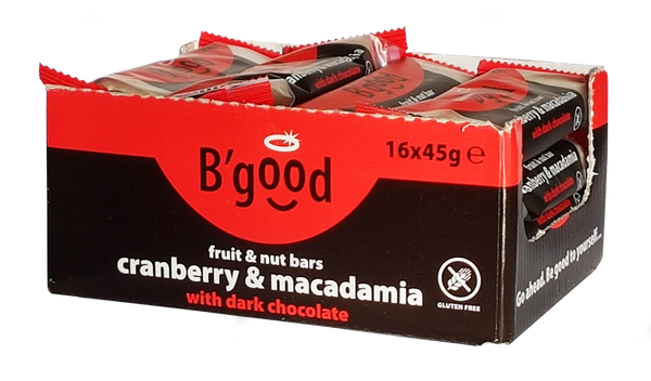 B'good Dark Chocolate Cranberry and Macadamia Fruit and Nut Bar-Case Price-(16x45g)