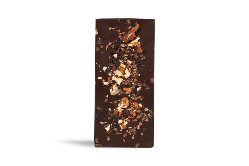 Dark Chocolate Coffee, Walnut and Cacao Nib Slab (100g)
