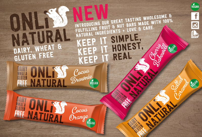 ONLi Natural Cocoa Brownie Fruit and Nut Bar Gluten Free Vegan (35g)