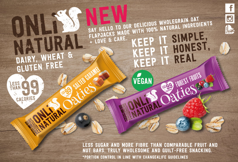 ONLi Natural OATIES Salted Caramel Gluten Free Vegan Flapjacks (28g)