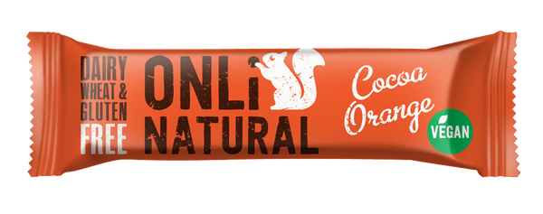 ONLi Natural Cocoa Orange Fruit and Nut Bars - Special Case Price (24x35g)