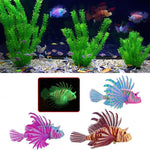 Luminous Fluorescent Lionfish Floating Silicone Aquarium Decoration (Blue, Green, Yellow), 4""