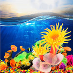 Silicone Aquarium Coral Plant Decoration (Yellow, White), 2""
