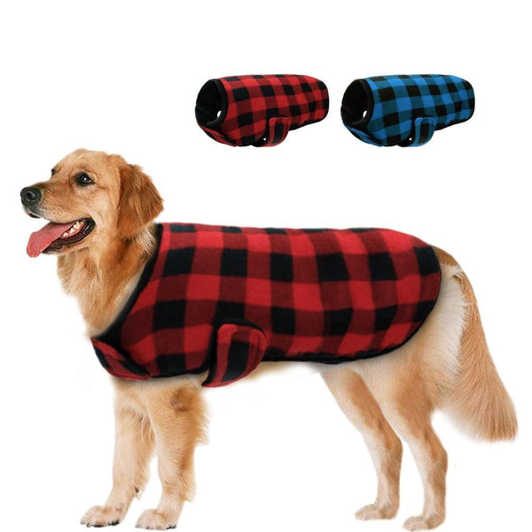 4c269e7b95af S-XXL Warm Fleece Plaid Pattern Winter Dog Vest (Red And Black, Blue
