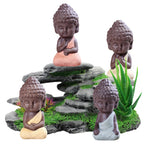Ceramic Buddha Statue Aquarium Decoration (Beige, Blue, Red, Yellow), 3.5""