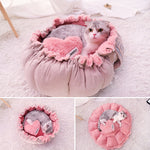 Flower Shaped Multifunctional Coral Fleece Cat Bed (Pink), S, M