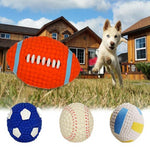 Squeaky Dog Ball Toy From Non-Toxic Latex (White, Blue, Orange), Single Ball, Set Of Balls