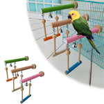 Multi-functional Wood, Acrylic Bird Stand With Swing and Bell (Natural Wood, Colorful), S-L