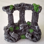 "3.5"" Resin Rome Square Stone Three Pillars Aquarium Decoration"