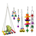 6pcs Set Of Hanging Wooden Bird Toys
