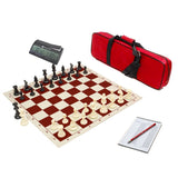 Advanced Game Timer & Premier Tournament Chess Bag w/ Standard Board & Weighted Pieces Combo