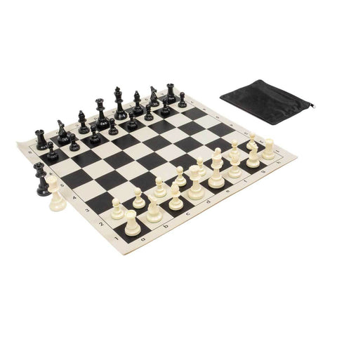 Perfect Fit Chess Bag w/ Standard Board & Weighted Pieces Combo