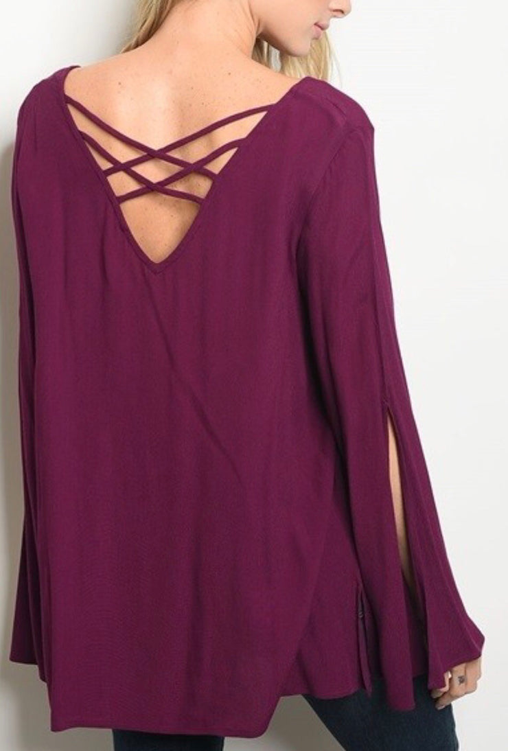 Berry Top with Cross Cross Back