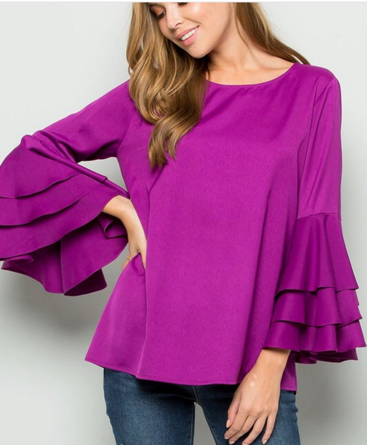 Orchid Ruffle Sleeve Top