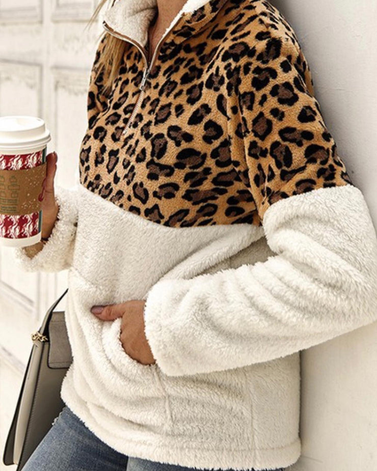 Animal Print and Cream Sherpa