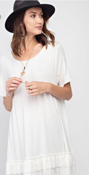Cream Top with Ruffle Embellishment