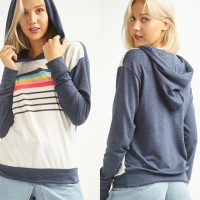 Light Weight Hooded Sweater with Rainbow