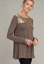Light Brown Sweater with Gold Detail
