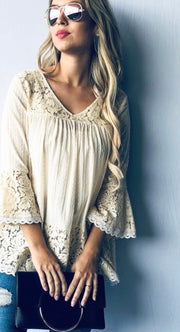 Bell Sleeve Lace Trim Tunic