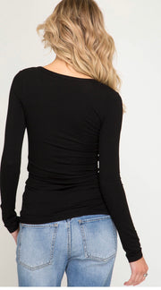 She and Sky Basic Black Long Sleeve