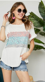White T With Animal Print