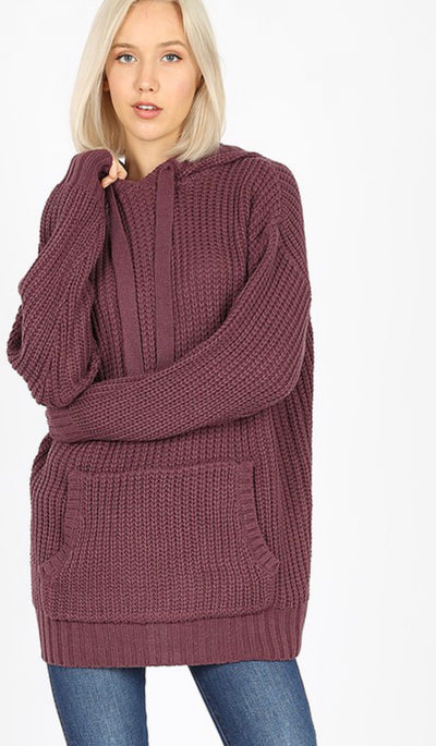 Eggplant Hooded Sweater with Pockets