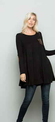 Plus Size Black Tunic Top With Sparkly Pocket