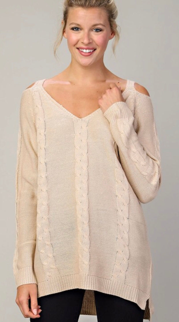 Cream Sweater with Cold Shoulder Sleeve