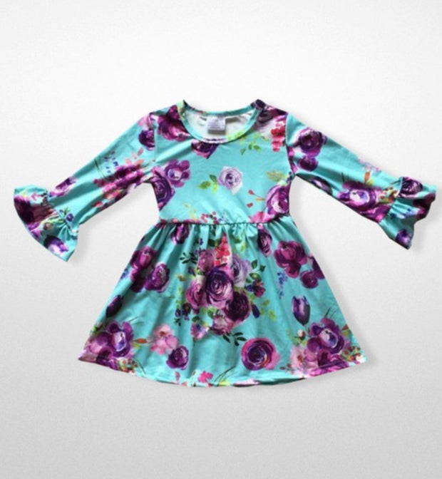 Girls Ruffle Sleeve Aqua & Floral Dress