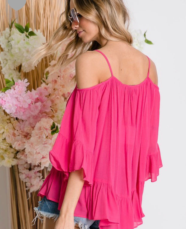 Ruffle Hem Cold Shoulder Fuchsia Top