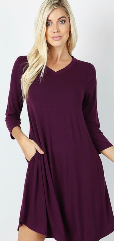 Dark Plum V-Neck Pocket Dress