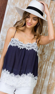 Navy Blue & Lace Tank