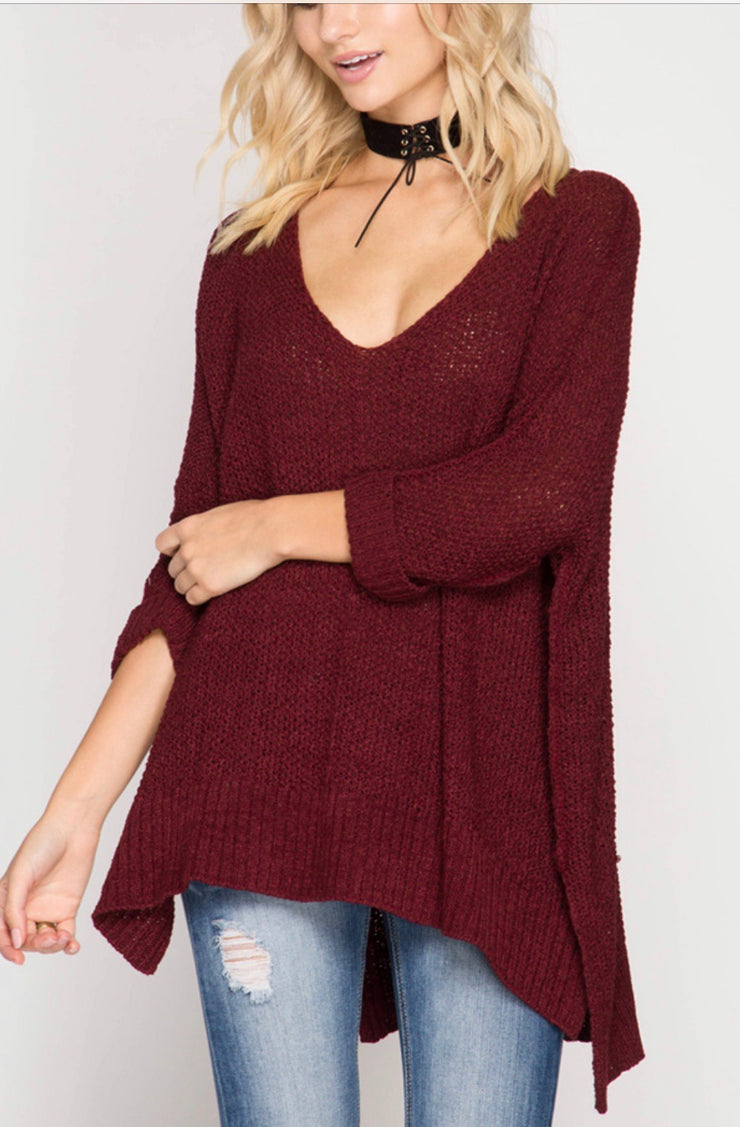 She and Sky V-Neck High Low Sweater