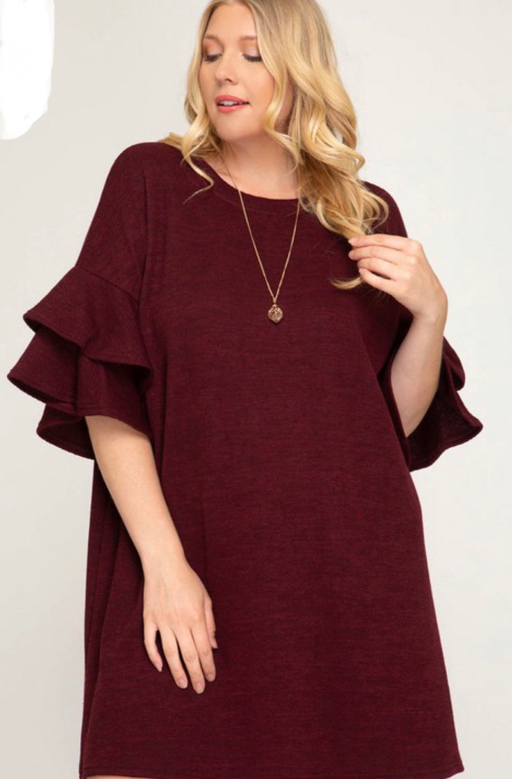 Wine Half Ruffle Sleeve Knit Dress