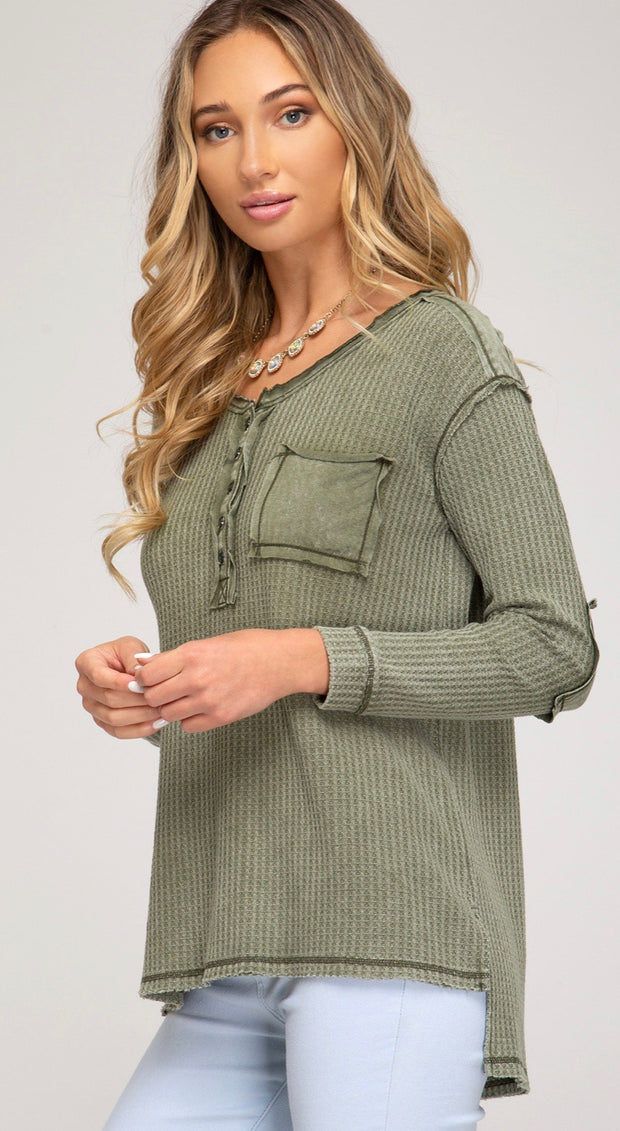 She and Sky Stone Washed Olive Button Down
