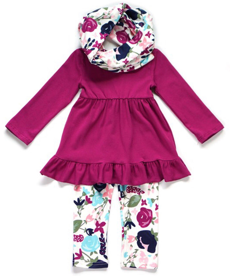 Berry and Floral Outfit Set