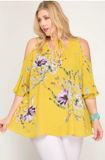 Flowy Cold Shoulder Plus Size Top