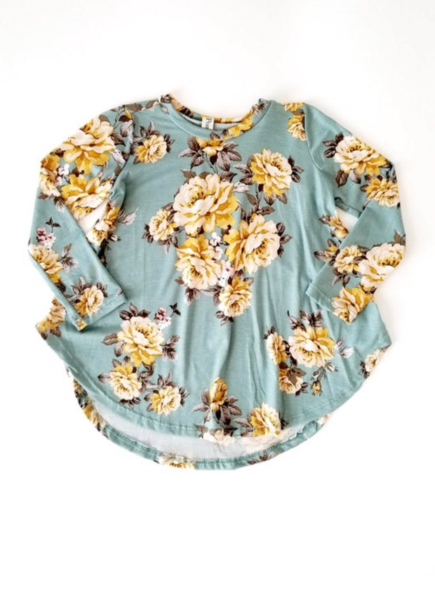 Floral Dusty Sage Top