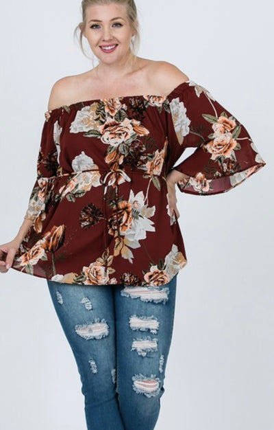Berry Off the Shoulder Floral Top