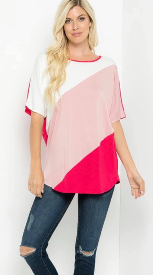 Short Sleeve Color Block Tunic