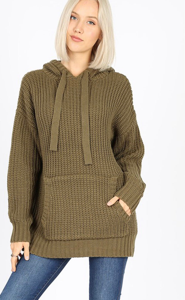 Olive Hooded Sweater with Pockets