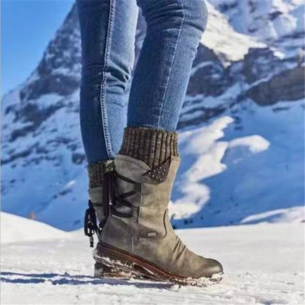 Women Warm Winter Lace Up Low Heel Round Toe Boots Shoes