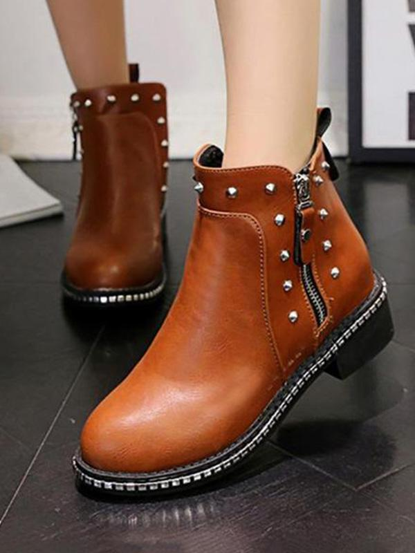 Round Head Square With Rivets Fashion Warm British Martin Boots