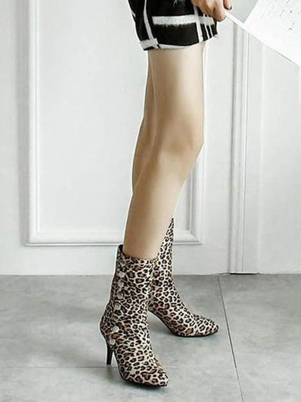 Fashion High Heel Leopard Print Boots