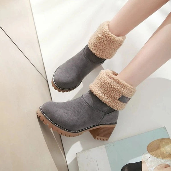 Women's fashion solid color cuffed two kinds of wearing boots