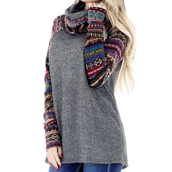 Casual High Collar Printed Color Long Sleeve Sweater