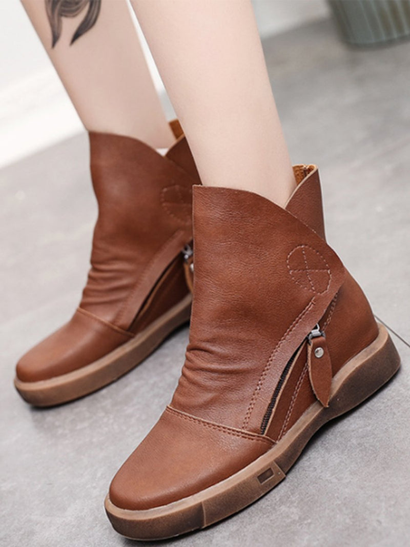 Women Inside Heel Plain Round Toe Side Zipper Boots