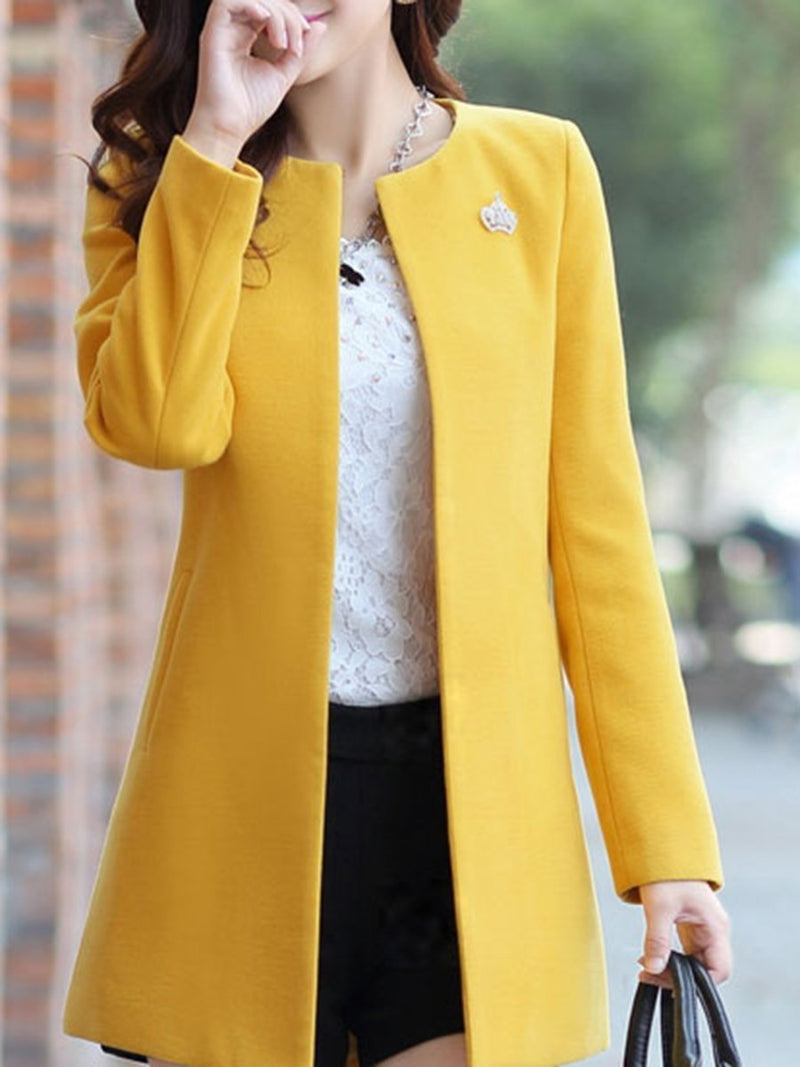 Collarless Solid Pocket Woolen Trench Coat