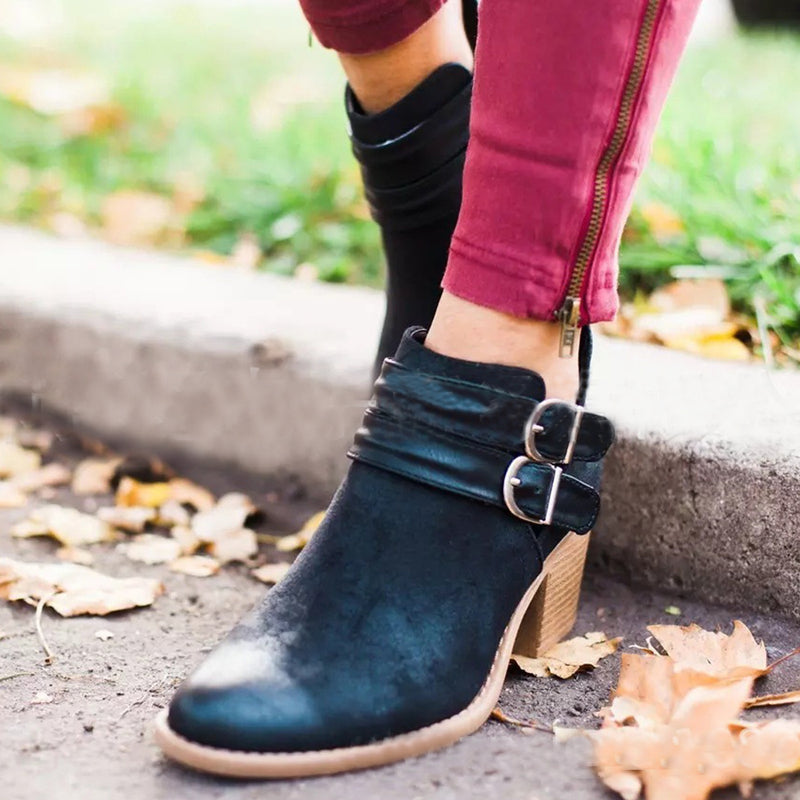 Plain Chunky High Heeled Round Toe Date Outdoor Ankle Boots