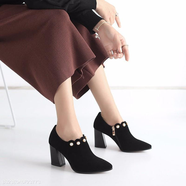 Premium Suede Mid Heeled Women Ladies Ankle Boots